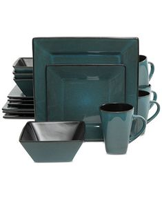 The Kiesling Dinnerware Set will modernize your table with its sleek and chic design. The beautiful reactive glaze sits atop a subtle ingrained design and sea green color, making this set both bold and delicate. Added to the original square shape Black Dinnerware, Stoneware Dinnerware Sets, Square Dinnerware Set, Tableware, Farmhouse Dinnerware, Kitchenware, Sea Green Color, Gibson Home, Dinner Sets