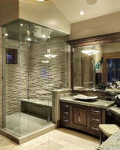 A gallery filled with incredible bathrooms with L-shaped vanities. Tons of styles, from rustic to contemporary and ultra modern.