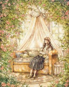 감은 눈 위에 내려앉은 햇살이 아른아른. #소녀 #소녀감성 #장미 #캐노피 #꽃 #휴식 #햇살 #햇빛 #갈색머리 #일러스트 #일러스트레이션 #illust #illustration #drawing #girl #girlish #flower #rose #pinkrose #canopy #sofa #brownhair