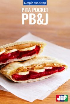 For a fresh take on the old standard, try a Pita Pocket PB & J layered with the great taste of Jif, Smucker's Preserves, and fresh strawberries and bananas. See more PB&J inspiration at LovePBJ.com!