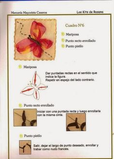 Te encantan las manualidades? Este es el lugar perfecto para ti, hay muchisimas revistas de cualquier tipo gratis Embroidery Motifs, Embroidery Patterns Free, Sewing Patterns Free, Ribbon Embroidery Tutorial, Silk Ribbon Embroidery, Ribbon Art, Ribbon Flower, Ribbon Sculpture, Brazilian Embroidery