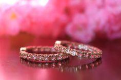 Etsy 5.40 carat Morganite Inside-Out Hoop Earrings 14k Rose Gold - Hoop Earrings for Women 5ct - Wedding
