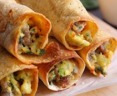 Caleb's Breakfast Taquito = Made with Scrambled Eggs, Ground Beef & Diced Tomatoes!