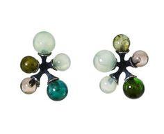 John Iversen - Green Tourmaline, Prehnite and Smoky Quartz Jax Earrings in Earrings Studs at TWISTonline