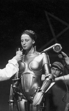 Brigitte Helm cooling-off on the set of Metropolis, 1927.