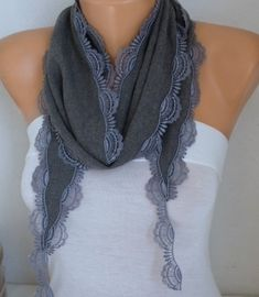 Gray Pashmina Scarf  Fall ScarfCotton Scarf Women by fatwoman