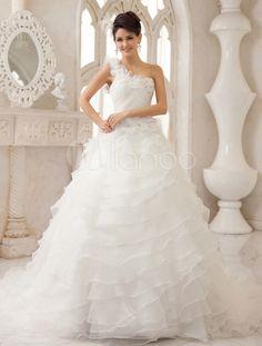 Ivory A-line One-Shoulder Ruched Court Train Bridal Wedding Dress - Milanoo.com