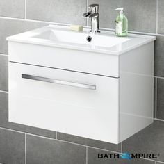 600mm Avon High Gloss White Basin Cabinet - Wall Hung