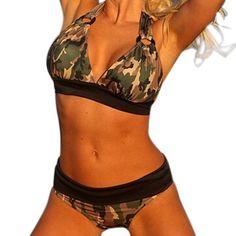 Plus Size 5XL Camouflage Print Bikini Set Camo Halter Bra+Briefs Swimwear Swimsuit Strappy Bikinis