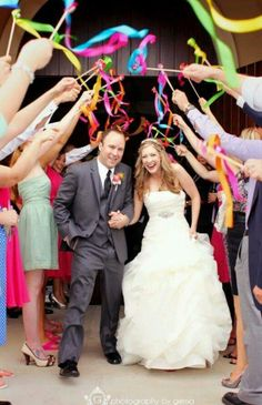 Ribbon wands for your exit.a nice alternative to confetti or bubbles