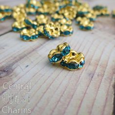 New Listing ~ 8 mm Gold Brass Aquamarine Turquoise Blue Czech Rhinestone Rondelle Beads - Vintage Style - Central Coast Charms