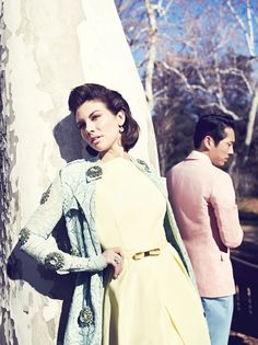 The Walking Dead, Steven Yeun and Lauren Cohan play lovers Glenn and Maggie. Spring Fashion 2014 - Los Angeles magazine