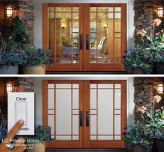 eGlass front entrance. Wood Framed Doors with LC Privacy Glass
