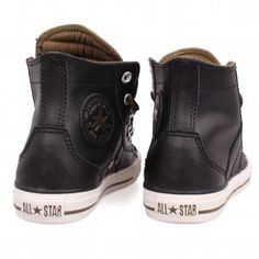 black leather converse kids