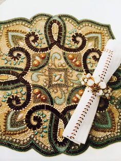 Beaded placemat by Kim Seybert - Marrakech