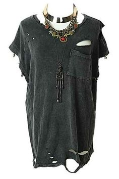 Vintage Skull Studded Tee with Ripped Detail by missiny - Chictopia