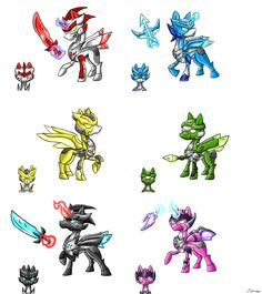 The Tenkai Knights as ponies. =P