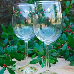 Holly Vine hand painted wine glasses for Christmas and winter celebrations.