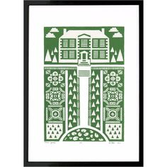 Lu West - Manor Garden Screen Print in Heritage Green (645 NOK) ❤ liked on Polyvore featuring home, home decor, wall art, green wall art, british home decor, framed wall art, english home decor and unframed wall art