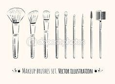 Макияж кисти комплект — стоковая иллюстрация #51115517