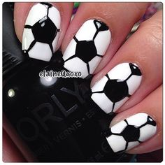 Simple Nail Art Designs That You Can Do Yourself – Your Beautiful Nails Love Nails, How To Do Nails, Fun Nails, Pretty Nails, Sports Nail Art, Football Nail Art, Fingernail Designs, Nail Polish Designs, Nails Design