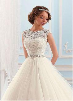 Glamorous Tulle High Collar Neckline Ball Gown Wedding Dress ...