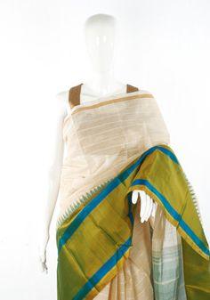Chettinad Handloom Cotton Saree with Kanchi Silk Border Design 5 – Desically Ethnic