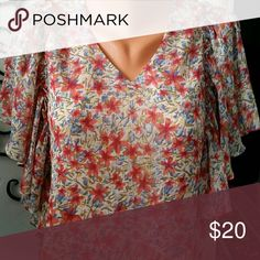 Top Sheer with lining, v neck, ruffle  sleeve, NEW no tag north style Tops Blouses