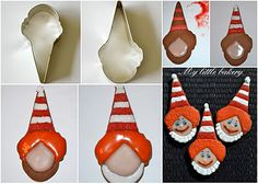 My little bakery :): Ice Cream cone cutter for Clown cookies Circus Cookies, Owl Cookies, Cookies For Kids, Fancy Cookies, Easter Cookies, Royal Icing Cookies, Cut Out Cookies, Sugar Cookies, Christmas Cookies