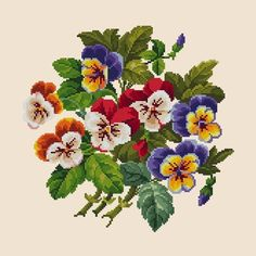 Vintage Pansies Bouquet Flowers Cross Stitch Pattern PDF Berlin Woolwork Pattern Antique Needlepoint Tapestry chart Victorian Flowers – Famous Last Words Victorian Flowers, Vintage Flowers, Simple Cross Stitch, Cross Stitch Flowers, Modern Cross Stitch Patterns, Cross Stitch Designs, Tent Stitch, Vintage Cross Stitches, Needlepoint Patterns