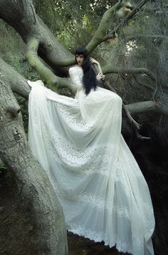 fluxmorz submitted this photo of Wednesday Mourning up a tree. How bloody gorgeous is this photo? It's all very elongated and ethereal and lovely. Dark Fairytale, Costume, Gothic Beauty, Gothic Art, Ethereal, Fairy Tales, Fashion Photography, Glamour, Photoshoot