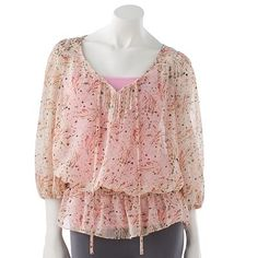 Kohls-Candie's® Pintuck & Lace Peasant Blouse  On Sale-$28.99