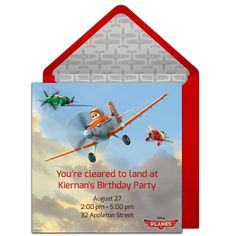Customizable, free Planes online invitations. Easy to personalize and send for a Disney Planes birthday party. #punchbowl