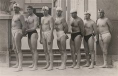 Oliver Halassy (far right) and the 1932 Hungarian water polo team. Men's Swimsuits, Swimwear, Digital Textbooks, Sport Icon, Summer Olympics, Olympic Games, Athlete, Film