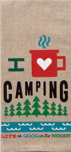 "I Love Camping 100% Cotton Chambray Dish Towel / Tea Towel, 18"" x 28"""