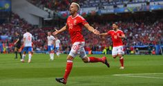 Aaron Ramsey of Wales celebrates scoring his team's first goal during the UEFA EURO 2016 Group B match between Russia and Wales at Stadium Municipal on June 2016 in Toulouse, France. Wales Football Team, Football Is Life, Arsenal, Wales Euro 2016, Aaron Ramsey, Sport Pool, Uefa Euro 2016, Man Of The Match, Wales