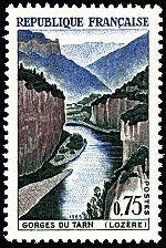 Les Gorges du Tarn, Lozère - Timbre de 1965 #Phelately