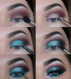 The Ultimate Full-Face Drugstore Makeup Guide For Beauty Addicts - Schminke - Eye Make up Makeup Eye Looks, Eye Makeup Steps, Natural Eye Makeup, Blue Eye Makeup, Turquoise Eye Makeup, Makeup With Glitter, Metallic Eye Makeup, Sparkle Makeup, Sleek Makeup