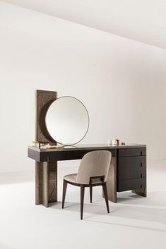 Outfit Vanity - Luxury vanity console table with round mirror Dresser Table, Table Furniture, Modern Furniture, Home Furniture, Furniture Design, Dresser With Mirror, Plywood Furniture, Chair Design, Painted Furniture