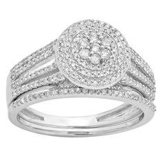 Elora 14k Gold 1/2ct TDW Round-cut Diamond Split Shank Bridal Cluster Set (I-J, I1-I2) (Size 6.5, White Gold), Women's