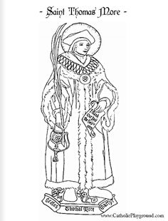 Saint Thomas More Catholic Coloring Page: Feast Day is June 22nd |