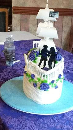 Mermaid and Pirate Wedding Cake Topper CUSTOMIZED to your features