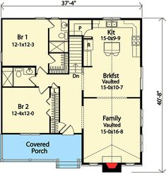 Ranch House Plan First Floor - Jules Creek Country Cabin Home 2 Bedroom House Plans, Ranch House Plans, Dream House Plans, House Floor Plans, The Plan, How To Plan, House Plans And More, Small House Plans, Little Houses