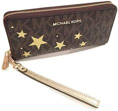 b3cb23676be0 MICHAEL Michael Kors Women's Illustration Travel Continental Leather  printed Wallet Clutch
