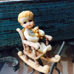 Baby Boy Gift Small Boy Figurine Rocking Chair by ACertainFeel