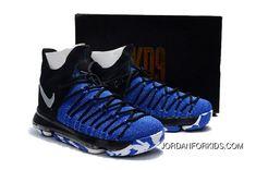 58cf30ba921a7a Nike Zoom KD 9 Elite Black Blue Basketball Shoes Discount Blue Basketball  Shoes
