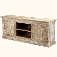White Hand Carved Tropical Hardwood Media Center #Console   http://www.sierralivingconcepts.com/