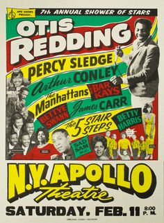 Concert poster featuring Otis Redding, Percy Sledge, Arthur Conley, The Manhattans, and The Bar Kays amongst others. Rock Posters, Band Posters, Event Posters, Theatre Posters, Vintage Concert Posters, Vintage Posters, Soul Music, Art Music, Music Life