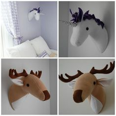 Unicorn and Deer Plush Taxidermy -  PDF Sewing Pattern with Step-by-Step Photos and Easy Instructions