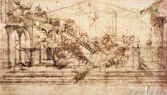 Leonardo da Vinci - Background perspective sketch for The Adoration of the Magi